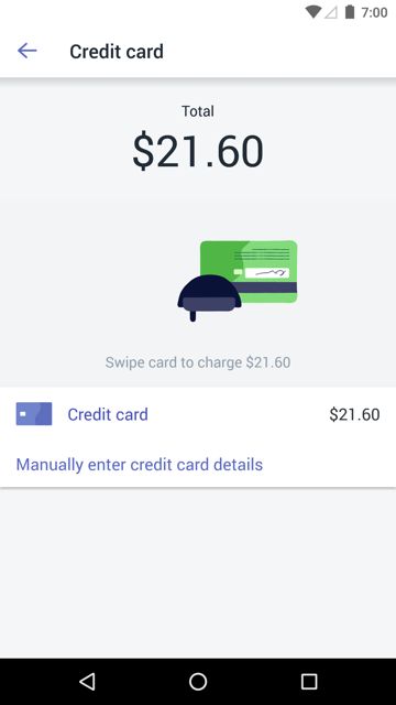 Swipe card screen — Shopify POS for Android