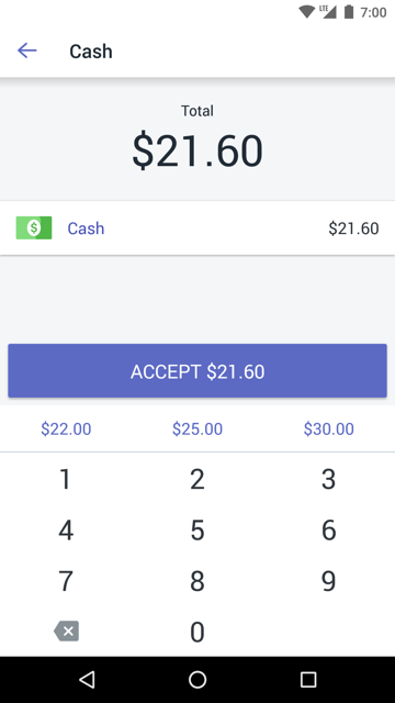 Cash payment screen — Shopify POS for Android