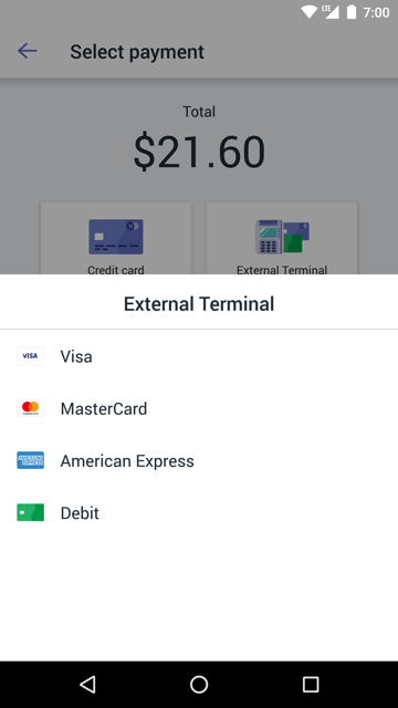 Scherm Extern terminal — Shopify POS voor Android