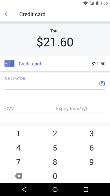 Android POS credit card screen
