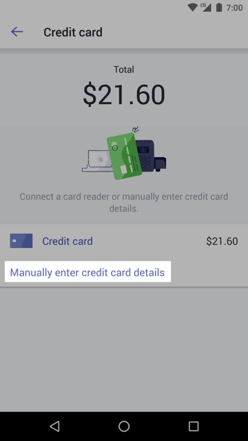 Manually enter credit card details button