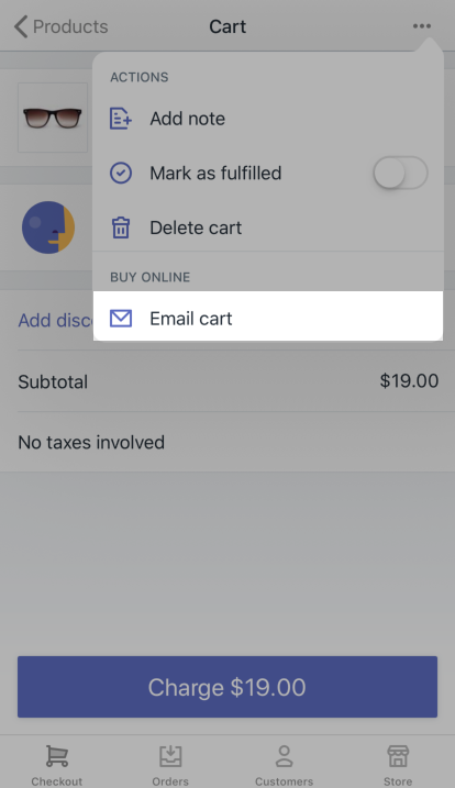 Email cart button — Shopify POS for iPhone