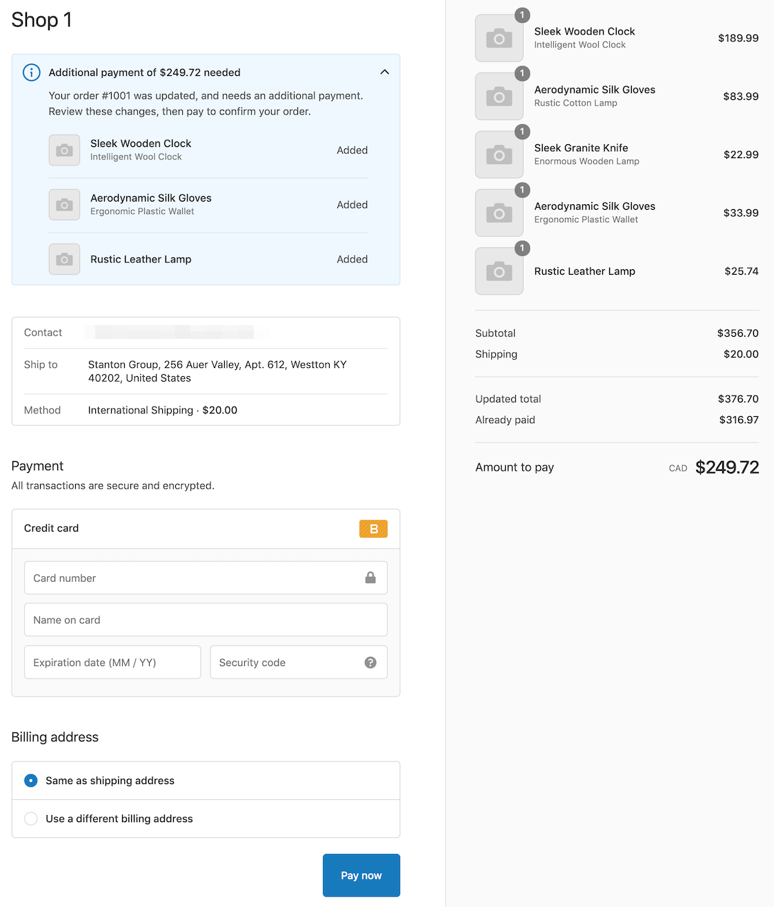 Image showing the checkout page when additional payments are needed