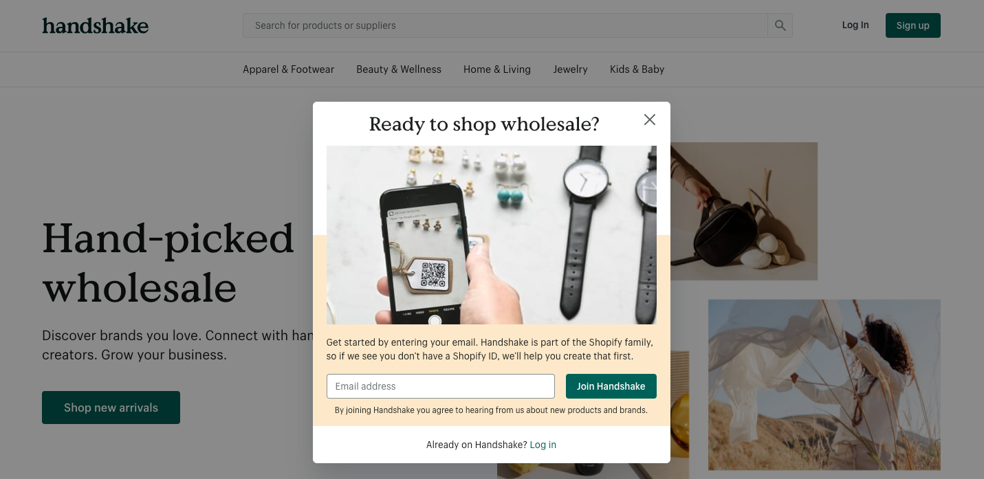 Sign up dialog for a retailer account on Handshake