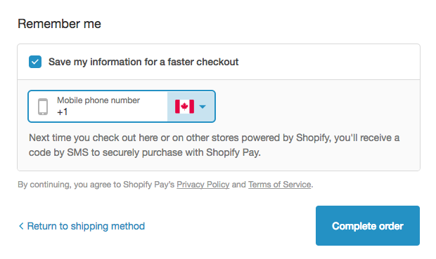 Shopify Pay opt in dialog