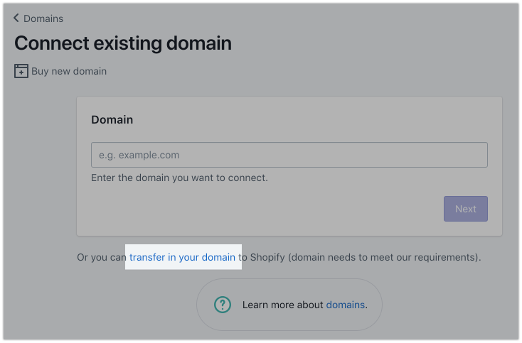 Transfer in your domain