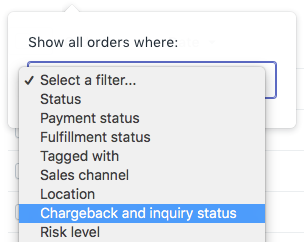 Selecting Chargeback and inquiry status from the drop-down menu