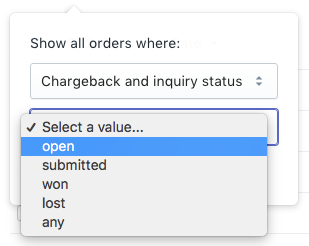Selecting open chargebacks and inquiries from the drop-down menu