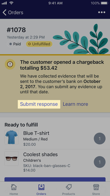 The Submit response button in a chargeback banner