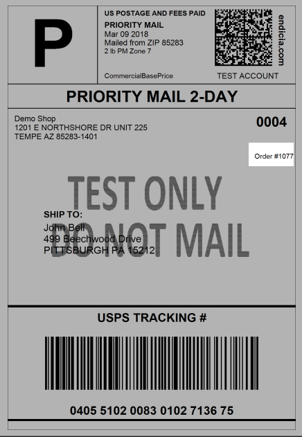 Highlighted order number location on an example USPS label