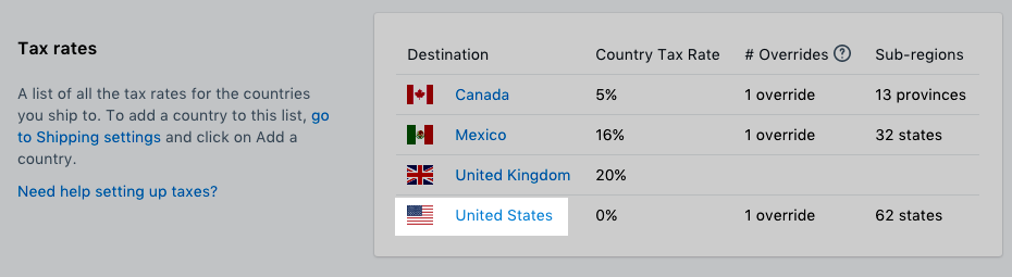 Click United States in the Tax rates section