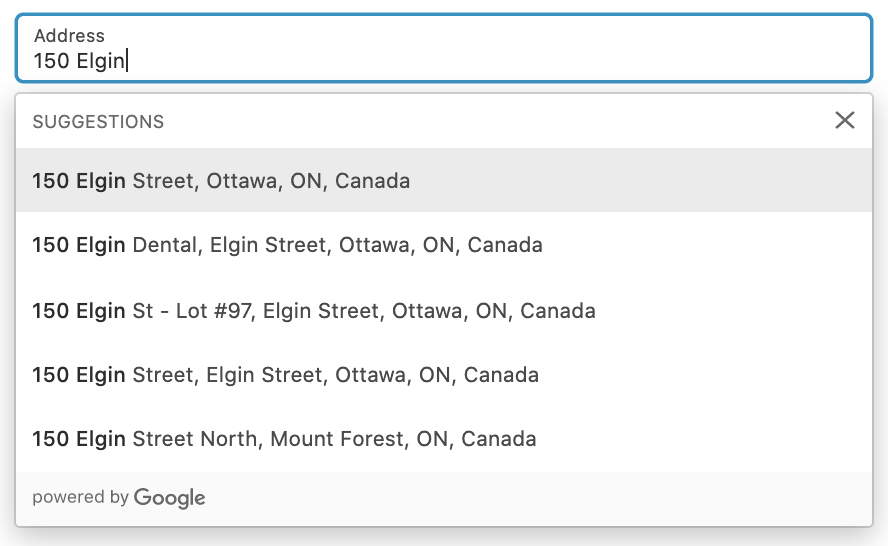 A dropdown menu of suggested addresses on the Shipping page at checkout.