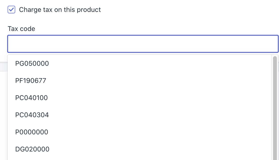 Select a tax code from the drop down menu in the pricing section