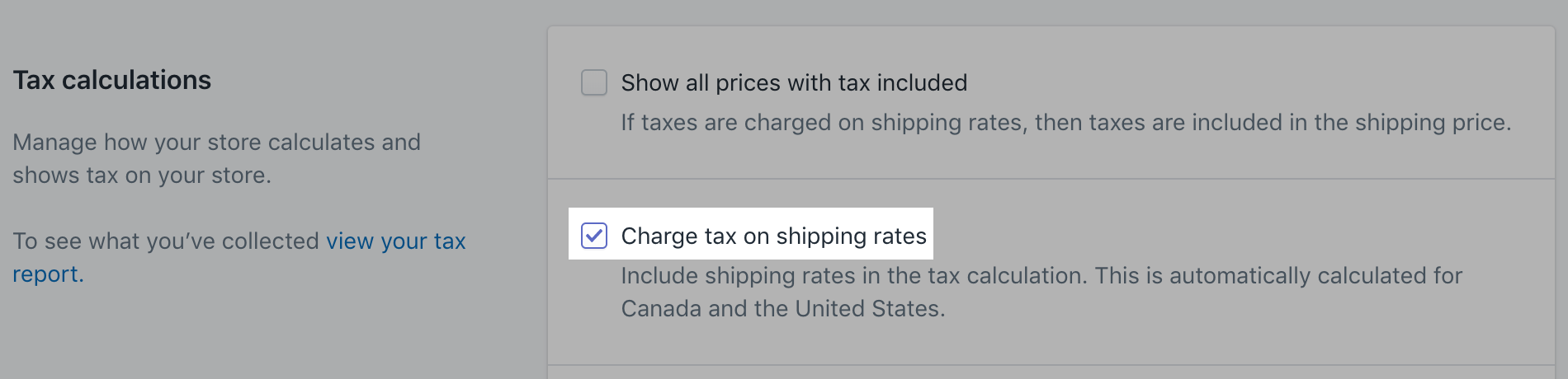 Check charge taxes on shipping rates in Tax settings