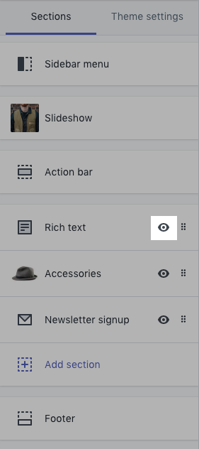 Theme editor toolbar with eye icon highlighted