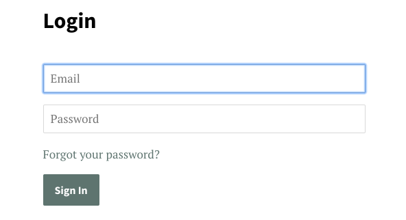 A customer login screen on an online store that shows form fields for Email and Password. The Email field is outlined in blue.