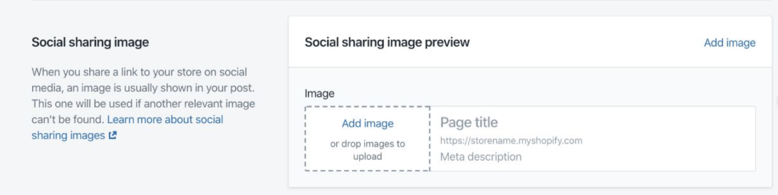 The social sharing option in Online Store>Preferences