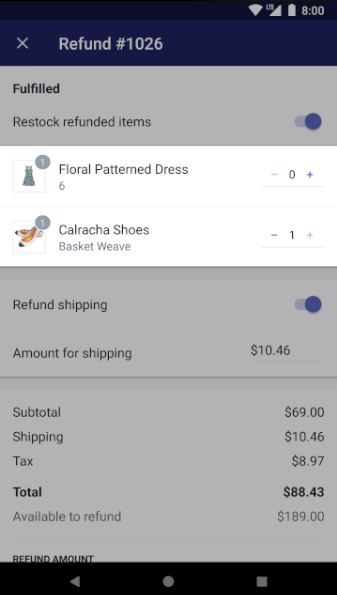 Shopify - refund partial Android