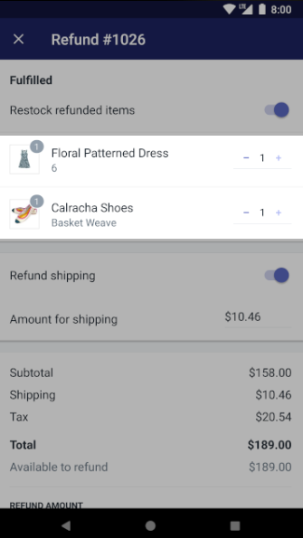Shopify - refund quantities Android