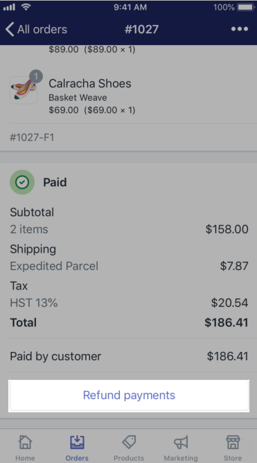 Shopify - order more refund button