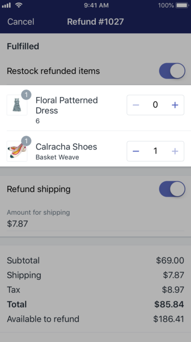 Shopify - partial refund iPhone