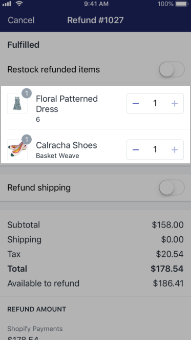 Shopify - refund full quantities iPhone