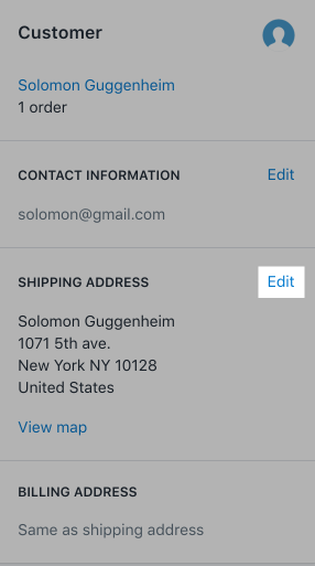 Editing a customer's shipping address