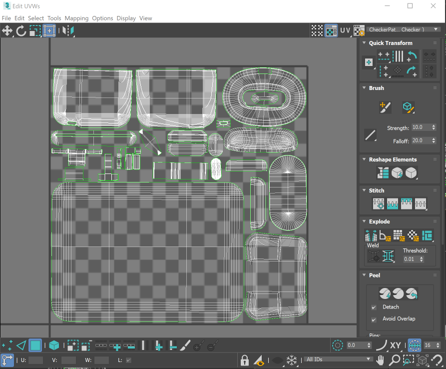 Use the Edit UVWs editor to lay out the UVs between 0 and 1 on the X and Y axes.