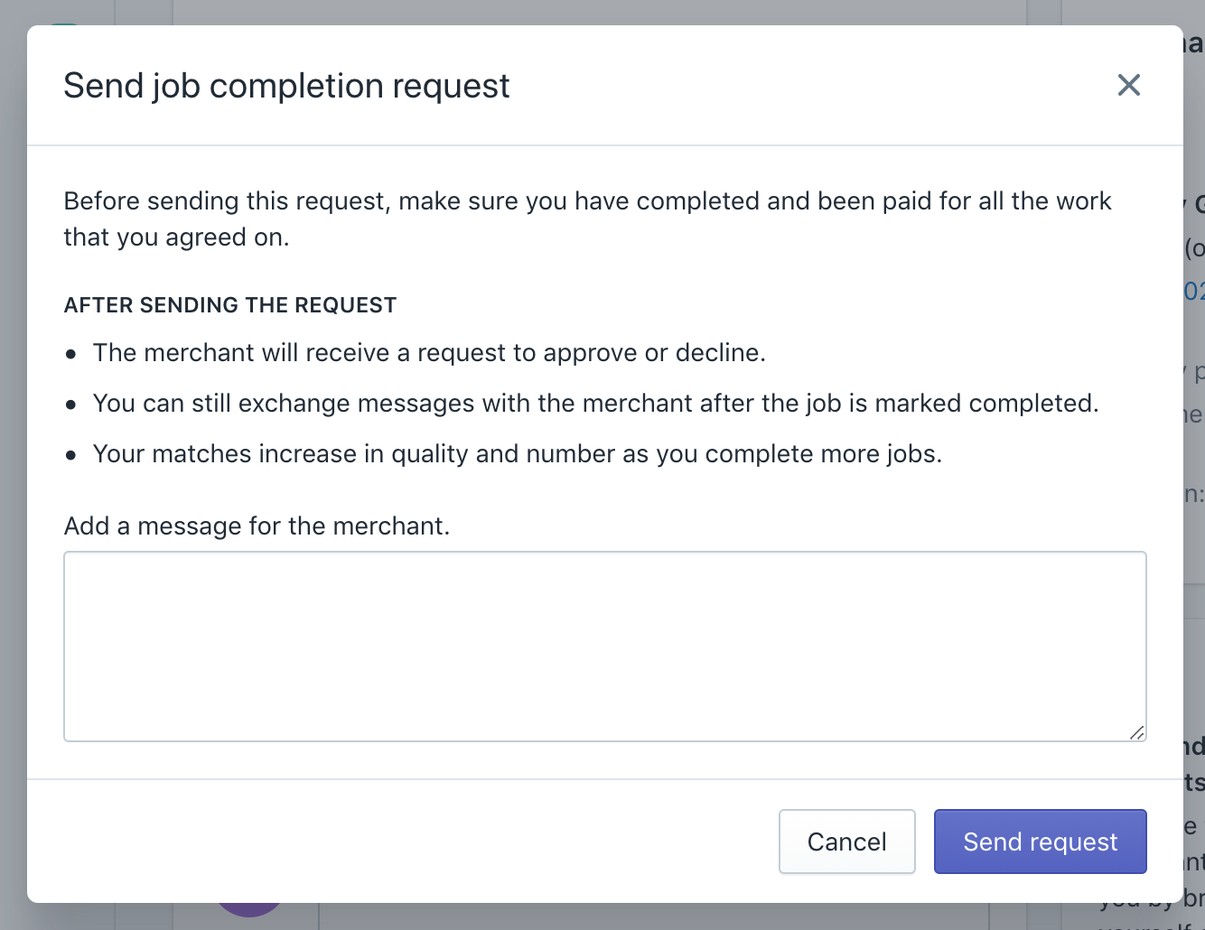 Shows the job completion request dialog in the Partner Dashboard