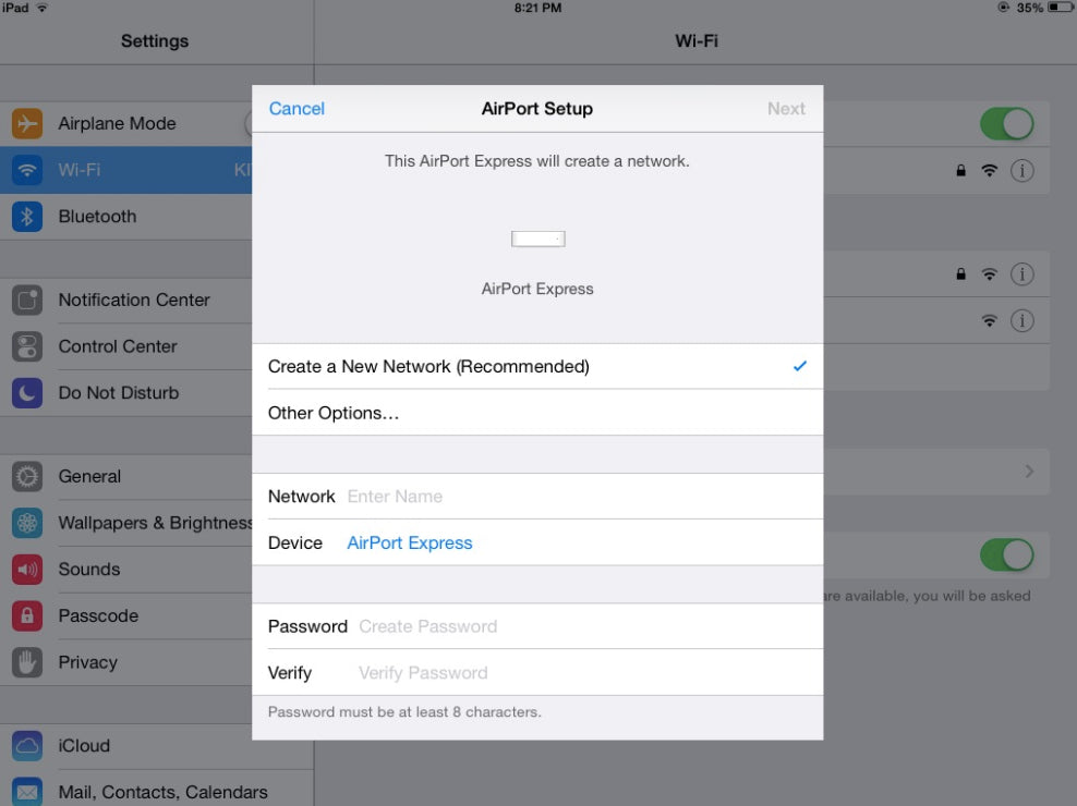 iOS wifi Airport setup fields
