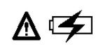 Warning sign next to a battery with a lightning bolt overlay