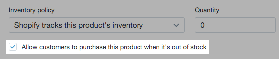 Inventory policy