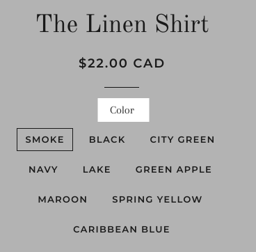 A product listing for a shirt with the option to choose different color variants. The label