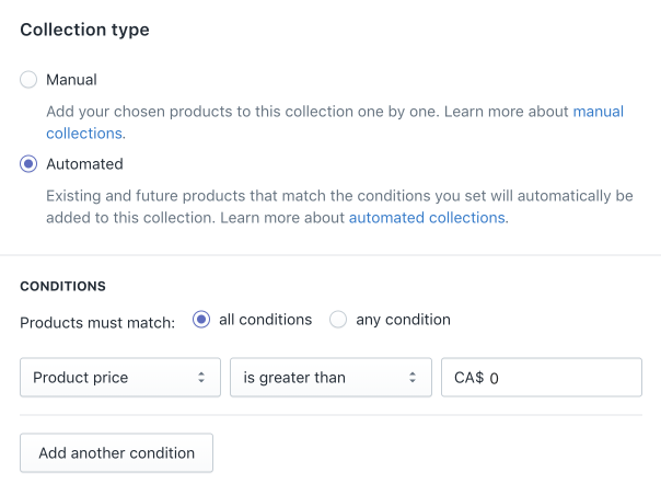 The Collection type section on the Create collection page in the Shopify admin
