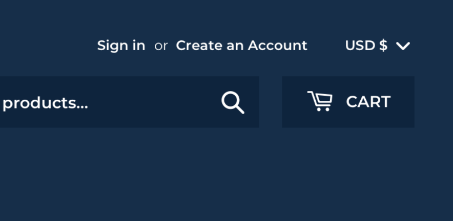 Example of selector without customer accounts enabled.