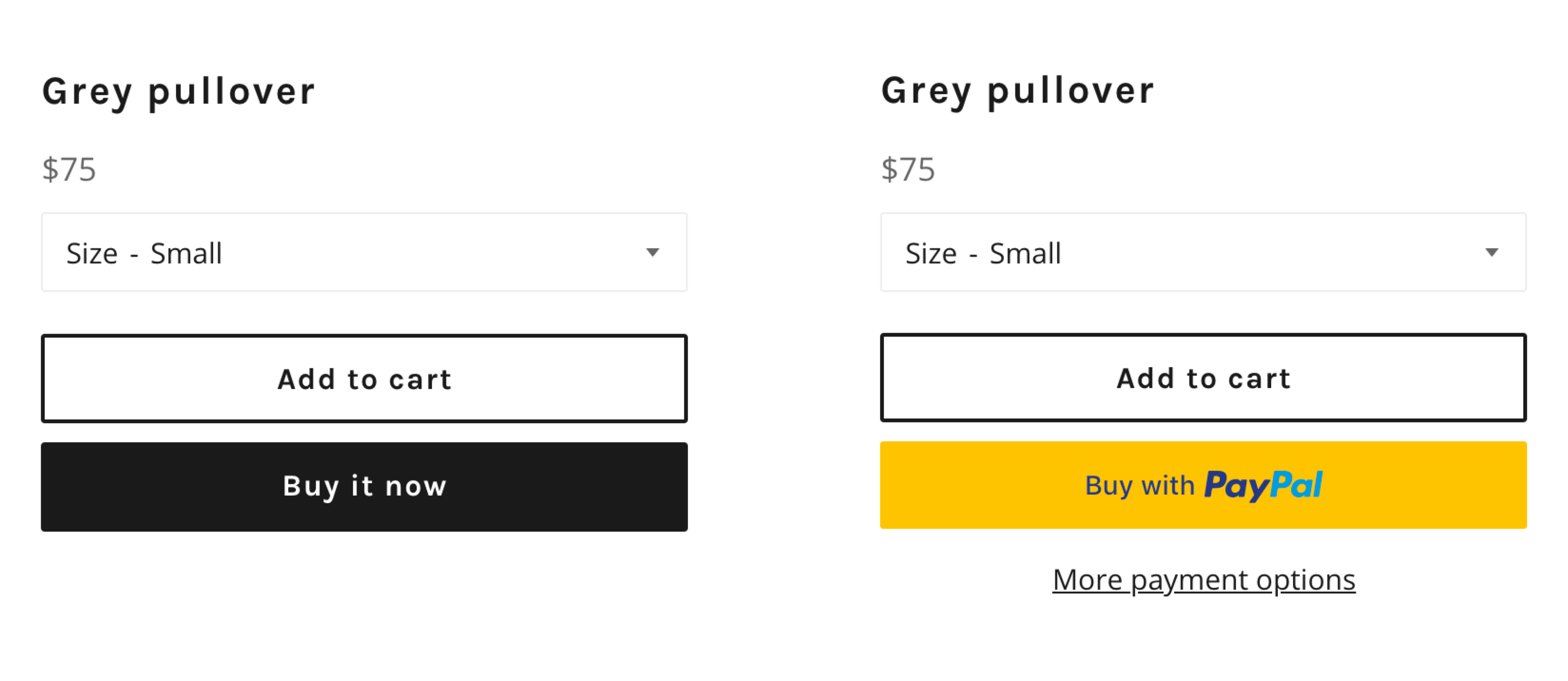 Two example product pages showing dynamic checkout buttons. One page shows an unbranded button with Buy it now text. The other page shows a branded button with Buy with PayPal text.