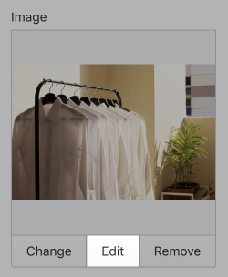 The settings for a slideshow image in the theme editor toolbar. There are three setting options, labelled Change, Edit, and Remove.