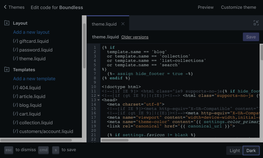 The code editor shown with the Dark color scheme