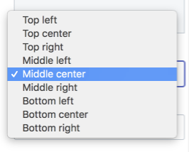 The Image position setting in the theme editor. A drop-down menu shows nine different options such as