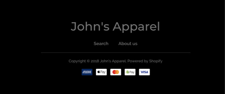 The footer section of a website that shows the store name, a menu, copyright text, and payment icons.