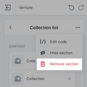 The Remove section button in the section menu.
