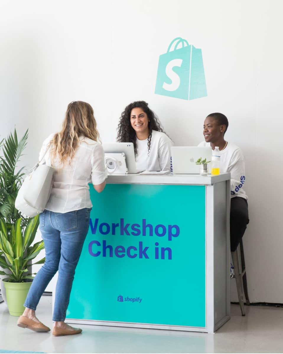 Shopify workshop check-in booth