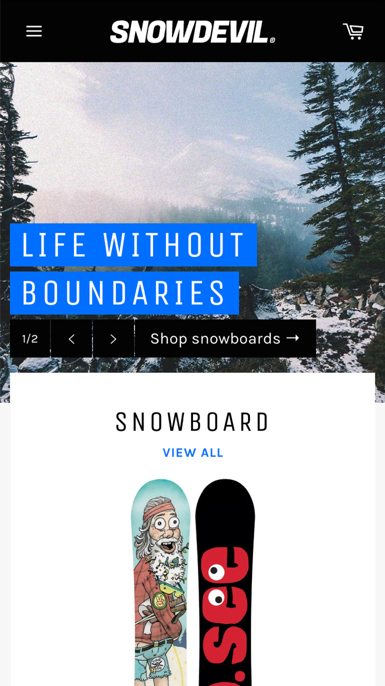 "Mobile preview for Venture in the ""Snowboards"" style"