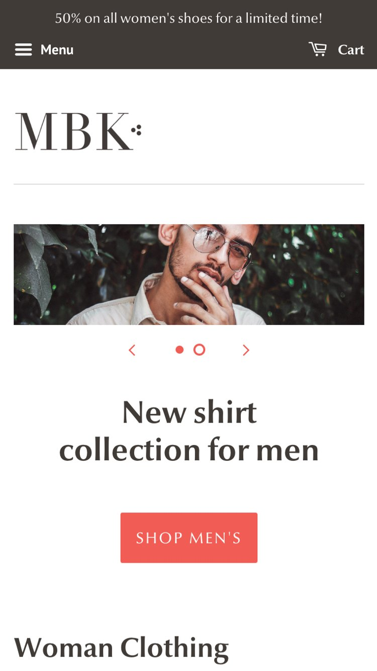 """Mobile preview for Minimal in the """"Fashion"""" style"""