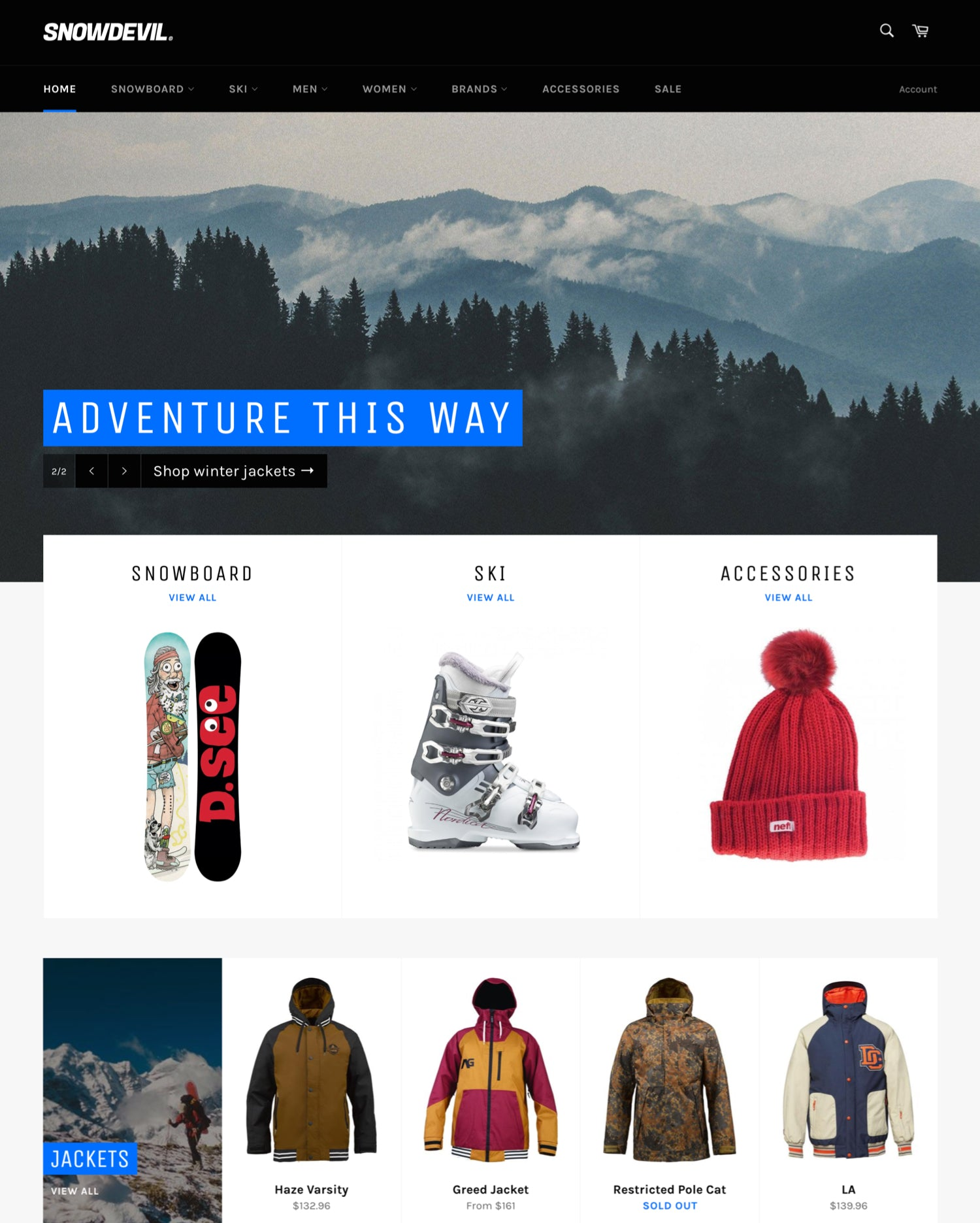 "Desktop preview for Venture in the ""Snowboards"" style"