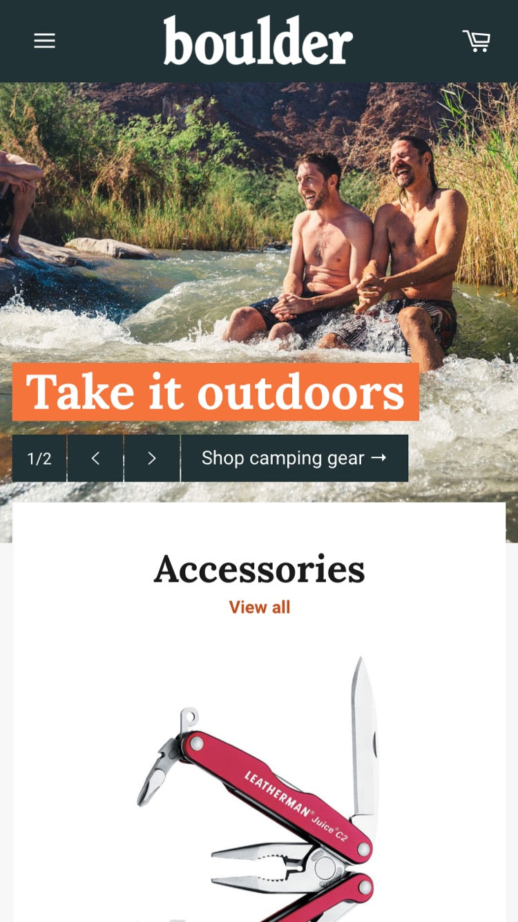 "Mobile preview for Venture in the ""Outdoors"" style"