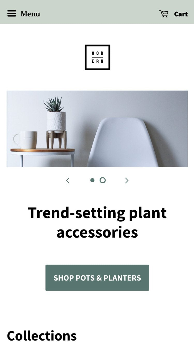 """Mobile preview for Minimal in the """"Modern"""" style"""